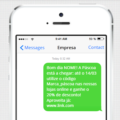 Exemplo de SMS para lojas ou marcas