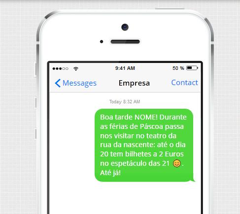 Exemplo de SMS para cinemas
