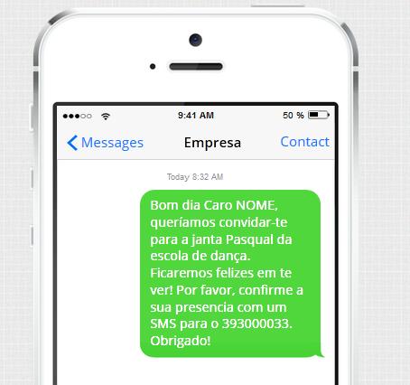 Exemplo de SMS para escolas